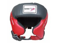 TurnerMAX Full Face Head Guard Boxing MMA Kickboxing Helmet Protection Safety Grey & Red