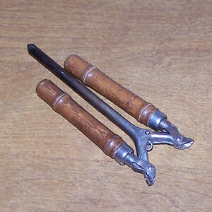 Vintage Folding Hair Curling Iron Wood Stove Headed