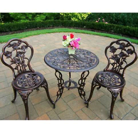 Cast iron garden patio bristo set table and 2x chairs