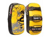 TurnerMAX Muay Thai Pad Strike Curved Arm Pad for MMA & Kickboxing (Pair) (Black/Yellow)