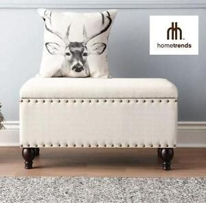NEW HOMETRENDS STORAGE BENCH STORAGE BENCH WITH NAILHEAD DETAIL, NATURAL LINEN 103395479
