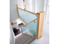 GLASS AND WHITE OAK STAIR BANISTER RAILS FROM £999
