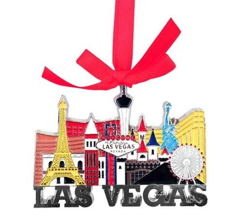 Las Vegas Sign Strip Hotels Color Metal Hanging Christmas Ornament Holiday Paris