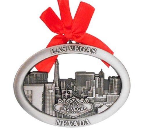 Las Vegas Strip Skyline Hotels Metal Oval Hanging Christmas Ornament Holiday MGM