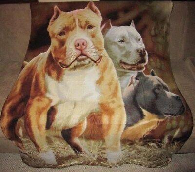 New Pitbull Terrier Soft Fleece Throw Gift Blanket Pit Bull Lover Dog Photo Warm