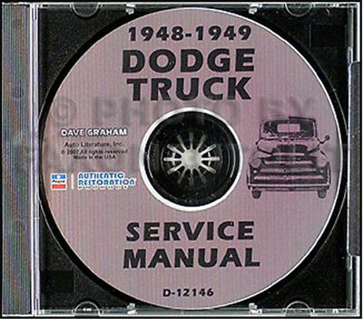 1948 1949 Dodge B 1 Truck CD Repair Shop Manual B1 Pickup Panel Big Truck