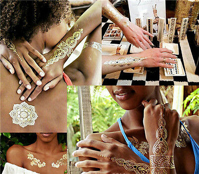 1 Sheet Temporary Disposable Metallic Tattoo Gold Silver Black Flash Tattoos on Rummage