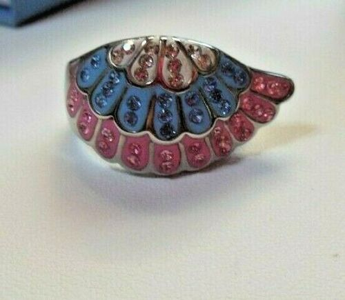 Vintage Pink, Blue, White Austrian Crystal Wing Ring Stainless Steel Size 9