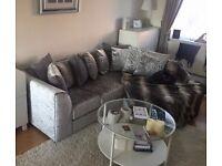 Corner Sofa - Grey Crushed Velvet