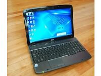 Acer Aspire 15.6 Widescreen laptop, 250gb, 3gb, dual core, DVD writer, Card Reader, WIFI
