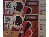 2 Tickets to NFL Redskins vs. Bengals - At Cost - £50 / each