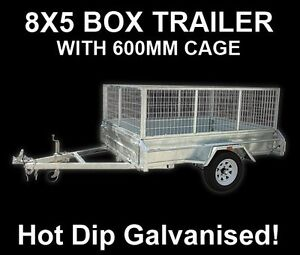 8 x 5 BOX TRAILER BRAND NEW GALVANISED WITH CAGE + TIPPER - FULLY WELDED
