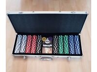 500 Poker chip set, 2 packs of playing cards, dealer buttons and dice
