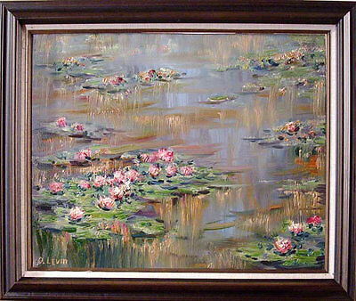 Lilies Oil Painting - Water Lilies - Original Oil Painting with Frame by artist Oleg Levin