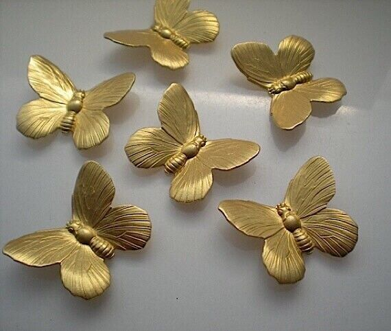 6 large brass butterfly stampings No. 2