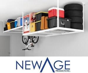 NEW CEILING STORAGE RACK 4' x 8' 40152 116774016 NEWAGE GARAGE VERSARAC ADJUSTABLE 600LB CAPACITY STEEL WHITE