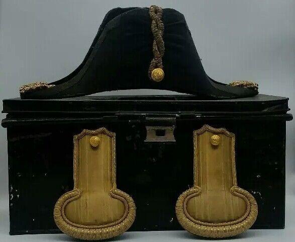 Post WW1 British Royal Indian Navy Bicorne Hat + Epaulettes & Tin E. Forbes