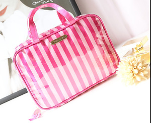 Victoria's Secret pink striped cosmetic pouch travel size