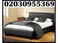 BRAND NEW - Double Leather Bed With Dual Sided Mattress * delivery only in london