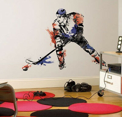 """HOCKEY CHAMPION PLAYER wall stickers MURAL 9 decals 42"""" men"""