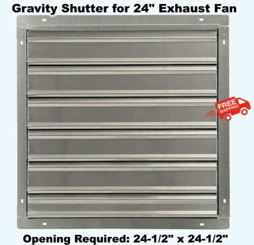 """Gravity Shutter for 24"""" Exhaust Fan  Wall Mount  Galvanized Frame  Rear-Flanged"""