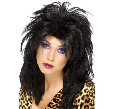 Womens 80s Black Pop Star Wig Long Tousled Mullet Disco Fancy Dress Rock Cher