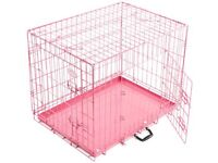 Dog crate pink 24 x18 inches with tray, divider & cover.