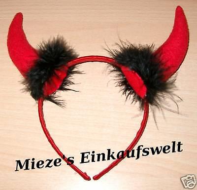 Teufelshörner Teufel Horn Haarreif Horn rot Filz Kostüm Accessiores Fasching ()