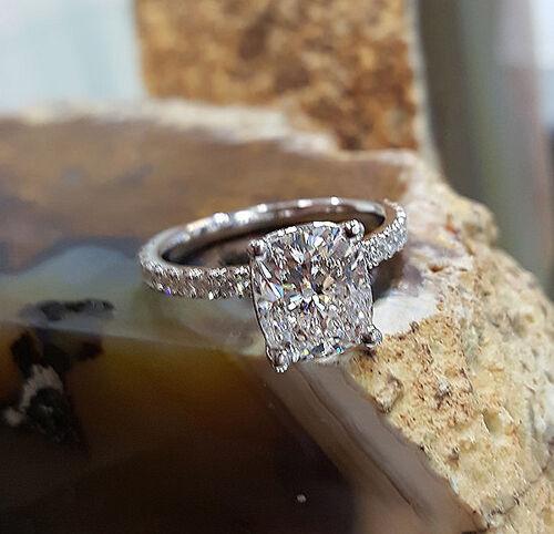 Real 1.50 Ct Cushion Cut Diamond Prong & U-Set Engagement Ring F,VS2 GIA 14K WG 2