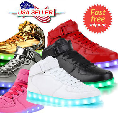 Unisex High Top LED Light Lace Up Luminous Shoes Sneaker Dance Rave Mid Casual