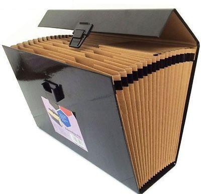 18 POCKET LARGE A4 EXPANDING FILE ORGANISER BOX A4 DOCUMENT PAPER FOLDER BLACK