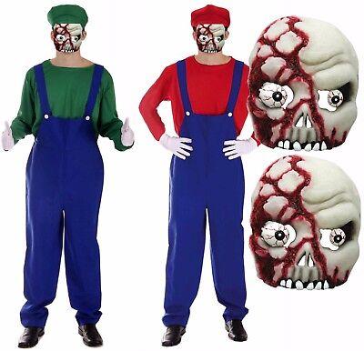 Mens Zombie Mario + Luigi Workman Plumber Halloween Fancy Dress Costume + Mask ()