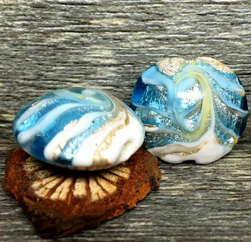 10pcs handmade Lampwork glass Oblate blue white wave beads  20*18*12mm