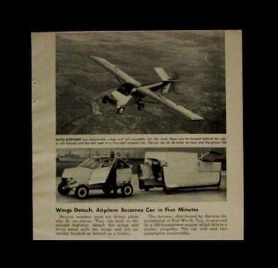 Aerocar Plane-Mobile 1961 Molt Taylor FLYING CAR original vintage article