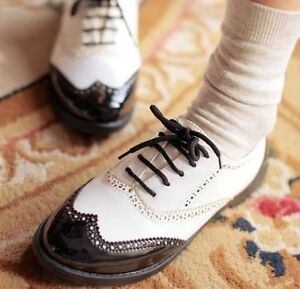 Ladies-Chic-Black-White-Lace-Up-Punk-Brogue-Oxford-Creepers-Shoes-Plus-Size