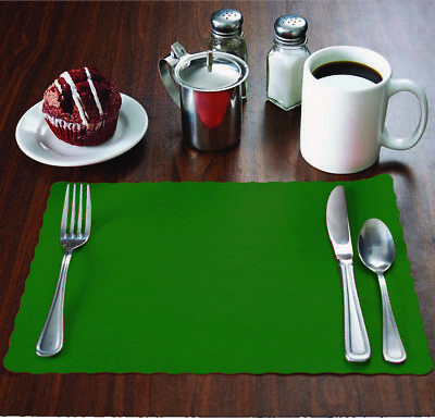 "MH Paper 500 Hunter Green Placemats with Scalloped Edge, 10""x14"", Flat, Disposal"