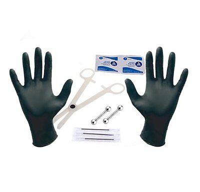 Body Piercing Starter Kit with Needles Clamp Gloves 14G Straight Barbell
