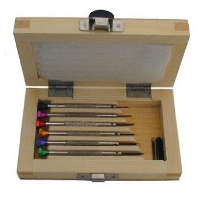 6 Uhrmacher Schraubendreher Schraubenzieher mit Holzbox Feinmechanik NEU