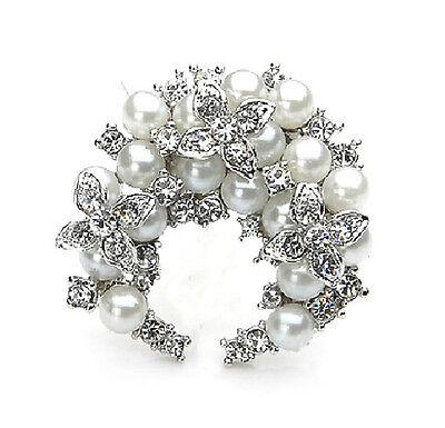 Distinto Argento & Bianco Perle Luna Corona di fiori A forma Spilla Sposa BR133