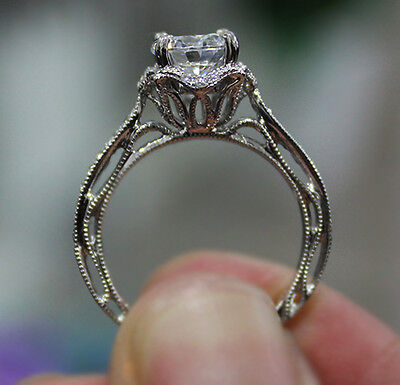 1.10 Ct. Natural Round Cut Floral Pave Diamond Engagement Ring - GIA Certified 1