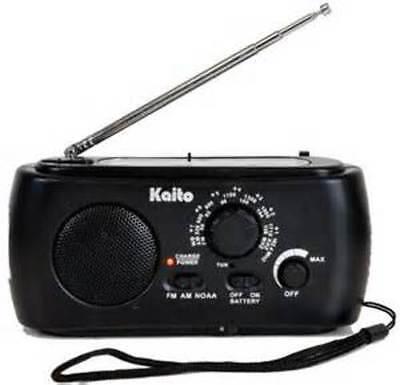 Kaito Ka331 Hand Crank Am Fm Noaa Weather Radio W  Cell Phone Charger 3 Led Lite