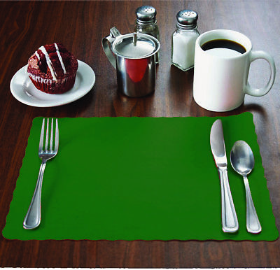 "MH Paper 2000 Hunter Green Placemats, Scalloped Edge,10""x14"", Disposal, Flat"
