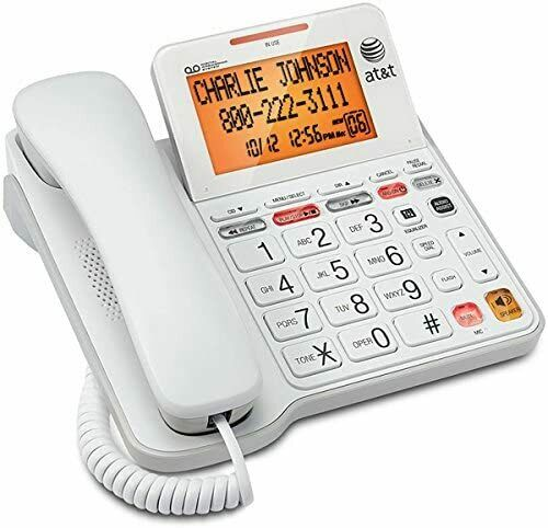 AT&T CL4940 Corded Standard Phone with Answering System and Backlit Display Whit