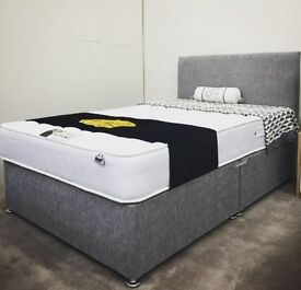 new double 4ft6 divan bed with mattress chenille grey charcoal top quality single & king available -