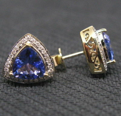 Solid Tanzanite Earrings - 2.10Ct Trillion Cut Tanzanite & Diamond Solid Earrings 14k Yellow Gold Finish