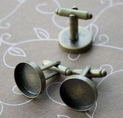 Bronze colour cufflink, cufflinks, blanks, settings, base, setting – 10 pcs
