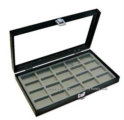 1 Glass Top 20 Space Grey Collectibles Jewelry Pins Arrowheads Display Case