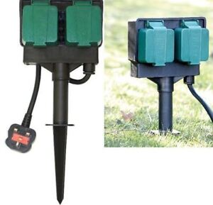 NEW 2 WAY GARDEN 4M CABLE EXTENSION TWIN SOCKET SPIKE OUTDOOR WATERPROOF LEAD
