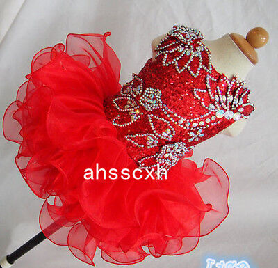Red Infant Toddle Girls Kids Ruffle Mini Party Pageant Dress Cupcake Ball Gowns](Cupcake Communion Dress)