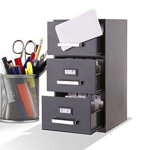 Small File Cabinet Desktop Portable Legal Business Card Holder Organize 3 Drawer